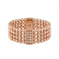 Tommy Hilfiger - Crystal Set, Rose Gold Plated - Stainless Steel - Beaded Ring, Size Q