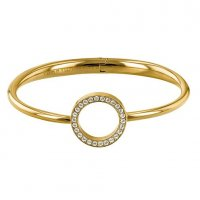 Tommy Hilfiger - Open Circle, Crystal Set, Stainless Steel - Yellow Gold Plated - Bangle