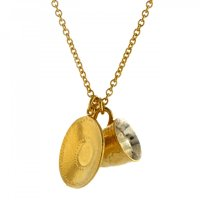 Alex Monroe - Gold Plated Teacup and Saucer Pendant and Chain, Size 18""