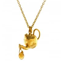 Alex Monroe - Gold Plated T Pot Pendant and Chain, Size 18""