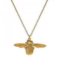 Alex Monroe - Bumblebee, Gold Plated Bee Pendant and Chain, Size 18""