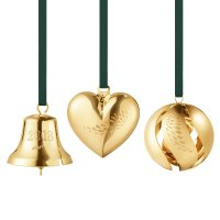Georg Jensen - Collectibles, Yellow Gold Plated Bell Heart Ball Ornament