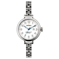 Shinola - Birdy, Stainless Steel White Dial, Silver Bracelet Watch, Size 34mm
