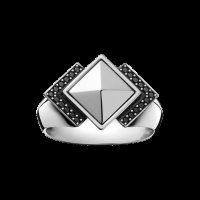 Georg Jensen - Nocturn, 0.11ct. Black Diamond Set, Sterling Silver Ring, Size O