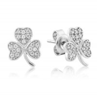 Waterford - Crystal Set, Silver Clover Earrings