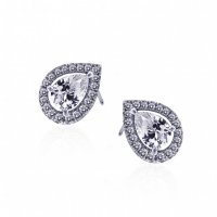 Carat London - Cora, Cz Set, Silver Heart Earrings