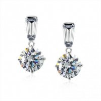 Carat London - Basics, Cubic Zirconia Set, 9ct White Gold Drop Earrings