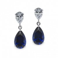 Carat London - Blue Sapphire Set, 9ct White Gold Stud, Drop, Earrings