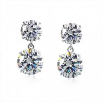 Carat London - Clear Cz Set, 9ct White Gold Brilliant Four Prong Drop Earrings