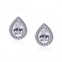 Carat London - Clear Cz Set, Silver Pear Shape Earrings