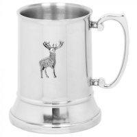 English Pewter Company - Stainless Steel Stag Tankard, Size 16oz