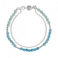 Dower and Hall - Orissa, Chalcedony Apatite Turquoise Set, Sterling Silver - - Bead Bracelet