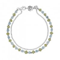Dower and Hall - Orissa, Peridot Blue Topaz Set, Sterling Silver - - Bead Bracelet