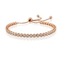Waterford - Cubic Zirconia Set, Sterling Silver - Rose Gold Plated - Tennis Bracelet