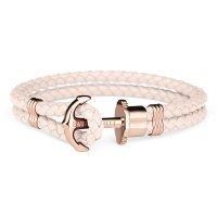 Paul Hewitt - PHREP, Pink Leather Rose Gold Anchor Bracelet, Size Large