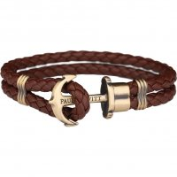 Paul Hewitt - PHREP, Brown Leather Brass Anchor Bracelet, Size Large