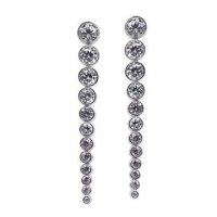 Carat London - Stone Set, Sterling Silver Drop Earrings