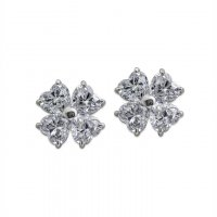 Carat London - Cubic Zirconia Set, 9ct White Gold Flower STuds Earrings, Size HT 1ct