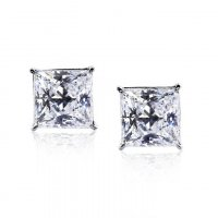 Carat London - Cubic Zirconia Set, 9ct White Gold Princess Cut Stud Earring, Size 1ct