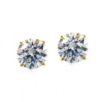 Carat London - Cubic Zirconia Set, 9ct Yellow Gold Brilliant 4 Prong Stud Earrings, Size 1ct