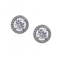 Carat London - Classic Round Border Set, Cubic Zirconia Set, Sterling Silver Stud Earrings