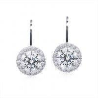Carat London - Pave, Clear Cz Set, Silver/Rose Gold Plated Round Stud Earrings
