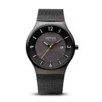 Bering - Solar, Stainless Steel Black with Yellow Detailing