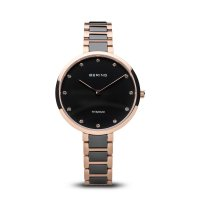 Bering - Swarovski Crystal Set, Stainless Steel, Rose Gold Plated, Ceramic Watch
