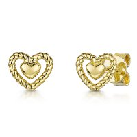 Jools - Heart, Yellow Gold Plated Stud, Earrings