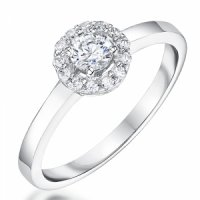 Jools - Cubic Zirconia Set, Sterling Silver  Ring, Size N