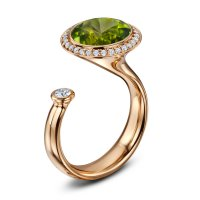 Andrew Geoghegan Peridot and Diamond Satellite Dress Ring in 18ct Rose Gold