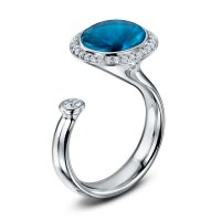 Andrew Geoghegan - Swiss Blue Topaz and Diamond Satellite Dress Ring In 18ct White Gold