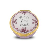 Halcyon Days - Baby's First Tooth, Enamel Pill Box