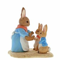 Enesco - Miniature, Ceramic Mrs Rabbit Flopsy And Peter Figurines