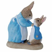 Enesco - Miniature, Ceramic Mrs Rabbit And Peter Figurines