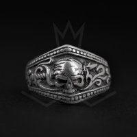 The Precious Frog - Skull , Sterling Silver - - Pirate Ring, Size S
