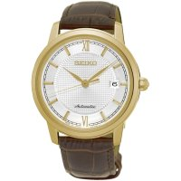 Seiko - automatic, Yellow Gold Plated Automatic Gents Leather Strap Dress Watch