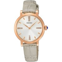 Seiko - Ladies, Rose Gold Plated, Silver Leather Strap Watch