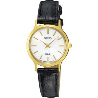 Seiko - Ladies Solar, Yellow Gold Plated with Black Leather Strap Watch