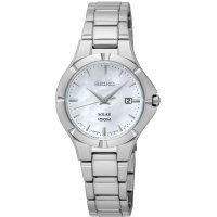 Seiko - Ladies Solar, Stainless Steel Date Square Watch