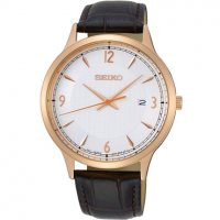 Seiko - Rose Gold Plated Gents Brown Leather Strap Watch