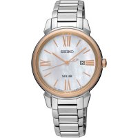 Seiko - Mother of Pearl Set, Stainless Steel/Tungsten - Rose Gold Plated - Solar Watch