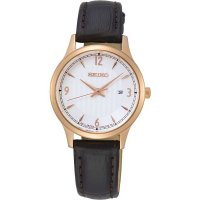 Seiko - Rose Gold Plated Ladies Brown Leather Strap Watch