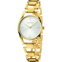 Calvin Klein - Dainty, Stainless Steel and PVD Yellow Gold Plate Silver Dial Watch