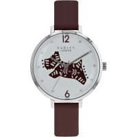 Radley - Folk Dog, Cubic Zirconia Set, Stainless Steel Leather Watch, Size 36mm