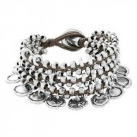 Uno de 50 - Sealed, Brown Leather and Silver Plated Bead Bracelet