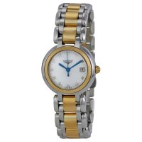 Longines - Prima Luna, Dia 0.032 MOP Set, Stainless Steel/Tungsten - Yellow Gold Plated - Glass/Crystal Quartz Watch, Size 26.5mm