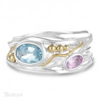 Banyan - Blue Topaz and Amethyst Set, Sterling Silver Ring, Size O