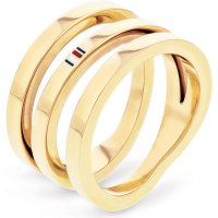 Tommy Hilfiger - Stainless Steel,Yellow Gold Plated Cross Over Ring