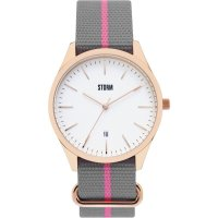 Storm - Morley, Stainless Steel with Rose Gold Plating Fabric Strap Watch - Morley-RG-White